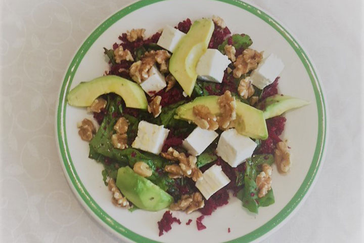 Beetroot rice and feta salad